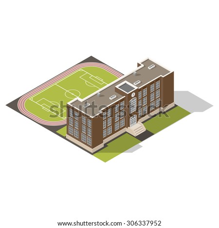 School isometric icons set vector graphic illustration - stock vector