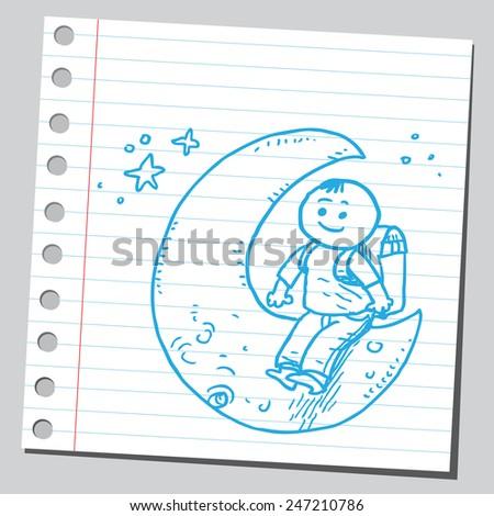 School kid siting on moon - stock vector