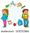 school kids and a set of school related items - stock photo