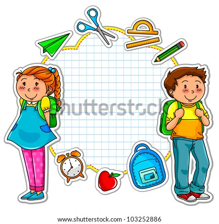 school kids and a set of school related items - stock vector