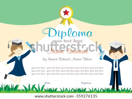 school kids diploma certificate background design stock vector  school kids diploma certificate background design template