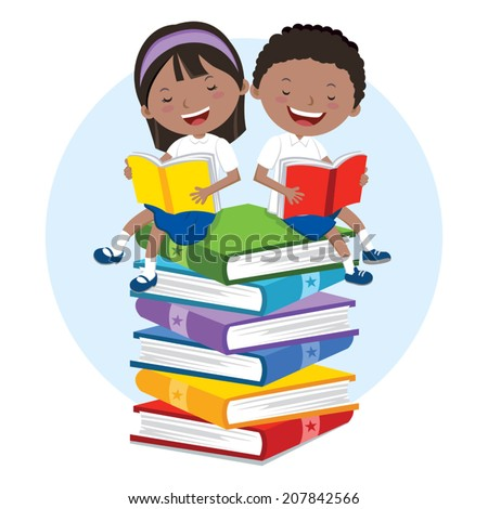 School kids love to read books. Children sitting on multicolor books, they are enjoying reading.  - stock vector