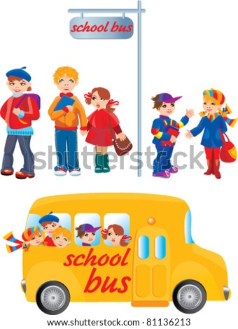 School kids on bus stop and going to school by bus - stock vector