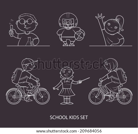 School kids set on blackboard - stock vector