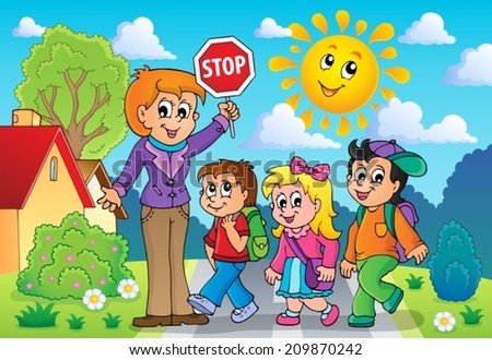 School kids theme image 2 - eps10 vector illustration. - stock vector