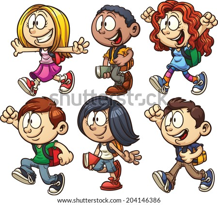 School kids. Vector clip art illustration with simple gradients. Each on a separate layer. - stock vector