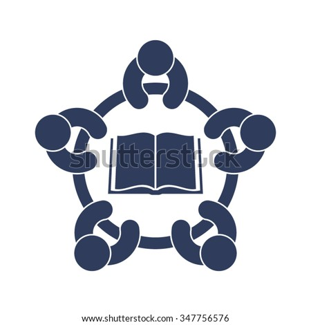 School Library Classmates Students Teamwork Learning Book Vector Icon  - stock vector