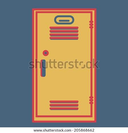 School locker, vector, flat icon(from set Back to school) - stock vector