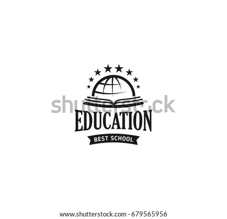 school logo vector monochrome vintage style design educational learning sign back to school