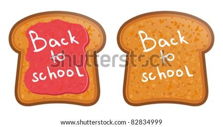 School Lunch.Toast with jam. Back to School - stock vector
