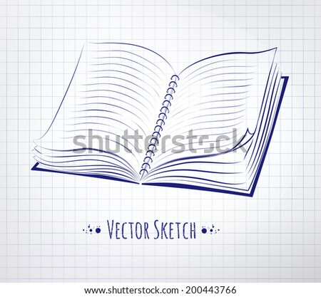 School notebook drawn on checkered paper. Vector illustration. isolated.