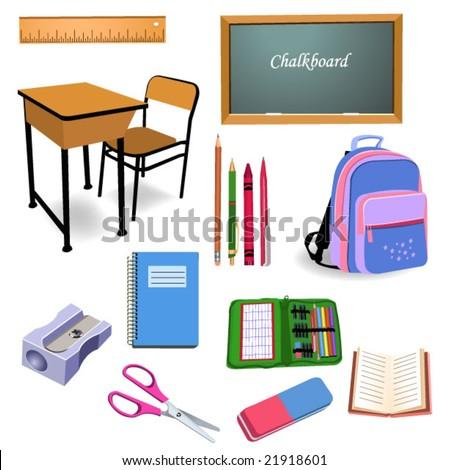 school objects - stock vector