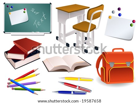 School objects, vector illusration, EPS file included - stock vector