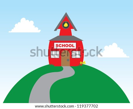 School on top of a large hill - stock vector