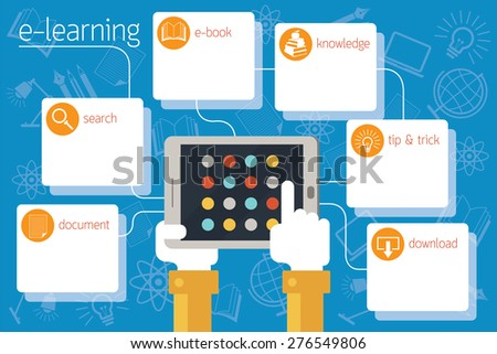 School Online, E-Learning, Infographic, Education, E-Book, Study - stock vector