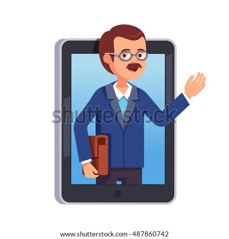 School or university teacher explaining something on a internet video call or chat from a tablet computer. Professor sticking out of smartphone screen. Modern flat style vector illustration.
