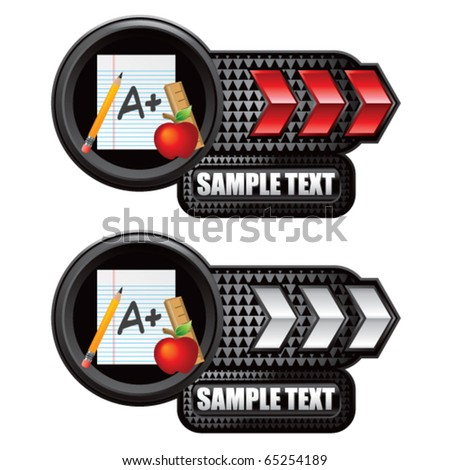 school paper red white arrow nameplates stock vector 65254189