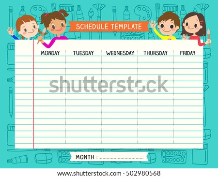School Plan Schedule Template Memos Set Stock Vector