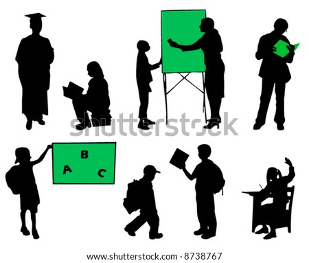 School pupils silhouettes on a white background - stock vector