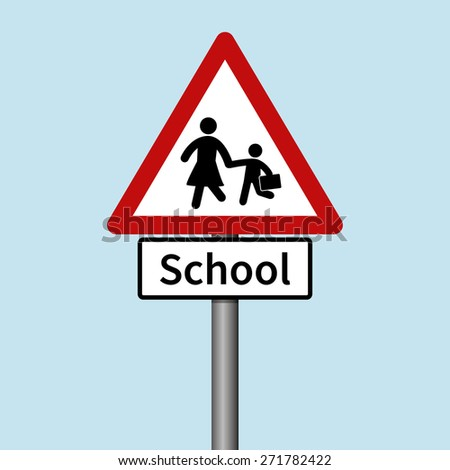 School Road Sign - stock vector