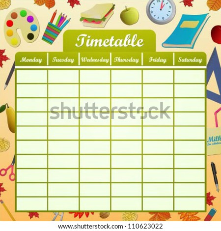 School schedule with objects, fruits and leaves - stock vector