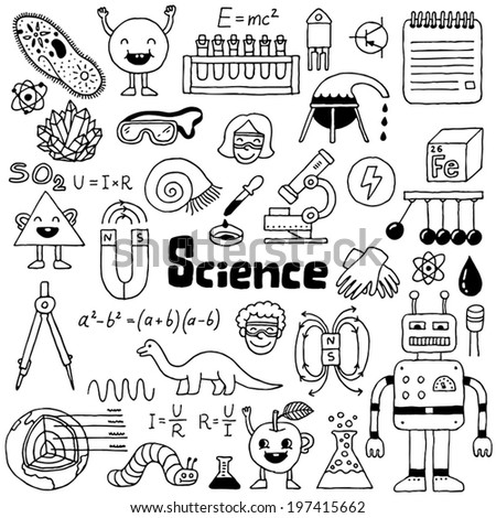 School science doodles 1. Hand drawn. Vector illustration. - stock vector