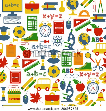 School seamless pattern - stock vector