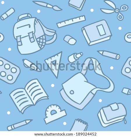 School seamless pattern of education equipment: bag, book, copybook, diary, ruler, pen, pencil, pencil box, glue, eraser. - stock vector