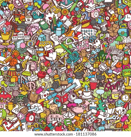 School seamless pattern (repeated) with mini doodle drawings (icons). Illustration is in eps8 vector mode. - stock vector