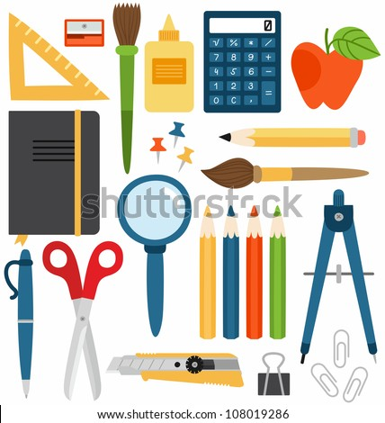 School Set. Set of different school items, vector illustration. - stock vector