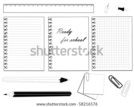 School set with different stationery in black and white - stock vector