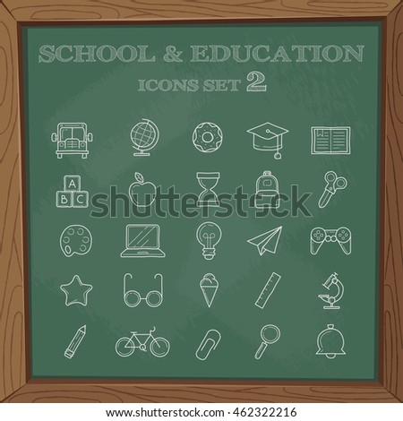 School signs and symbols. A set of simple symbols on a blackboard.