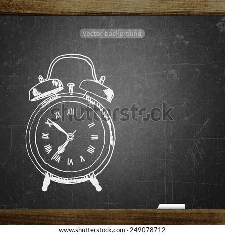 school sketches alarm clock on blackboard, vector background - stock vector