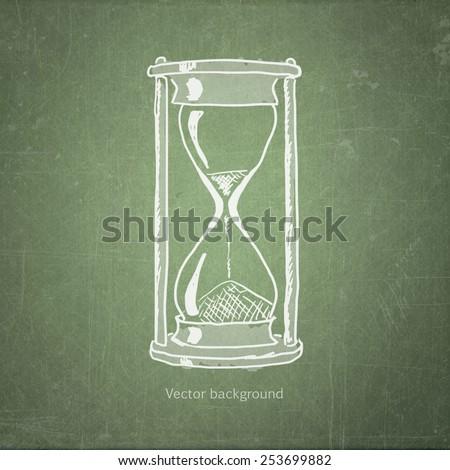 school sketches hourglasses on blackboard, vector background - stock vector