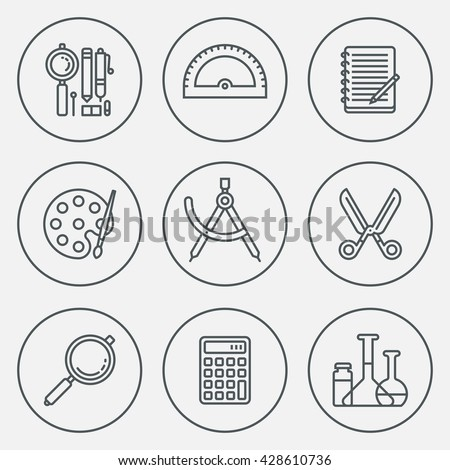 School Stationery Circle Round Icon Set. Line Design Vector Illustrations. - stock vector