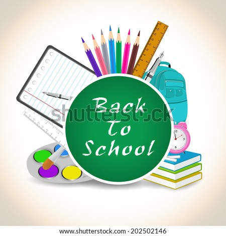 School stationery on grey background. - stock vector