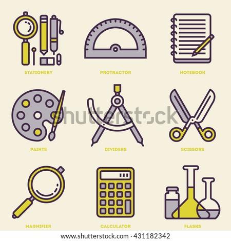 School Stationery Retro Icon Set. Line Design Vector Illustrations. - stock vector
