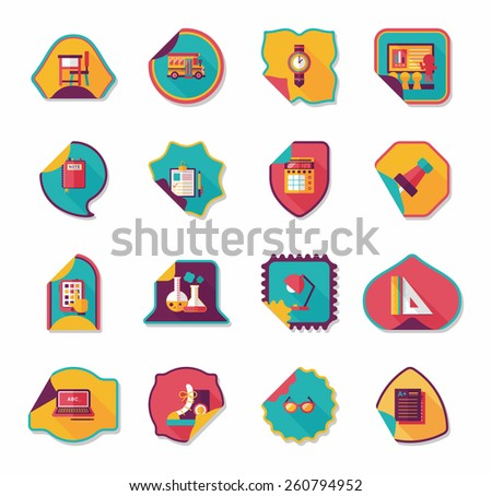 school sticker flat banner background set, eps10