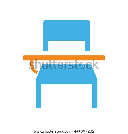 school student desk icon on white background