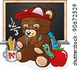 School Student Teddy Bear Cartoon Character - stock photo