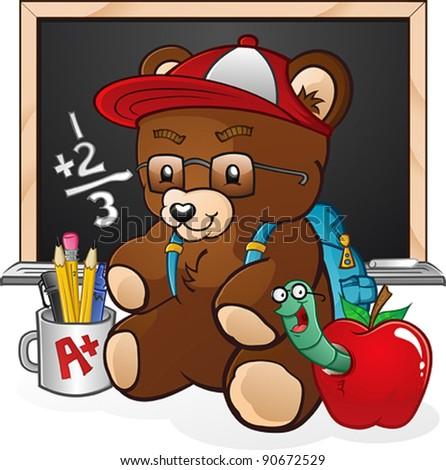 School Student Teddy Bear Cartoon Character - stock vector