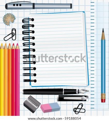 School supplies background. vector illustration. - stock vector