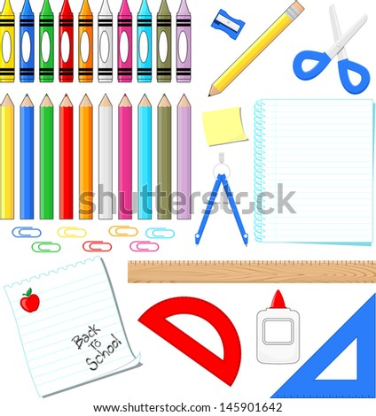 school supplies clip art isolated on white background, in vector format very easy to edit, individual objects - stock vector