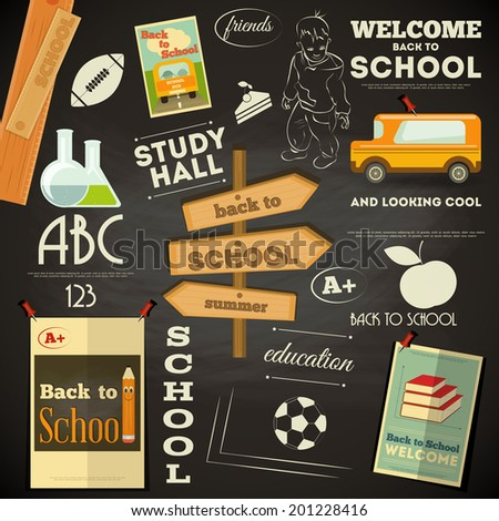 School Supplies on Chalkboard. Back to School Poster in Retro Style. Blackboard. Vector Illustration. - stock vector