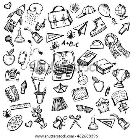 School supplies. School background. Stylized items for the school. Line art. Black and white drawing by hand. Doodle. Set. Collection.