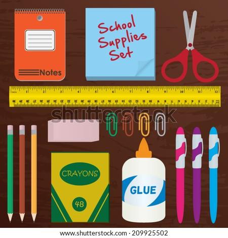 School Supplies Set, pencils, pens, crayons, eraser, paper clips, glue, ruler, scissors, note pad - stock vector