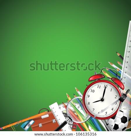 School supplies - vector background - stock vector
