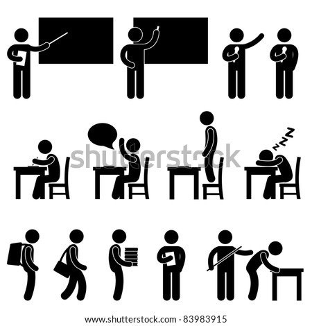School Teacher Student class classroom Education Symbol Sign Icon Pictogram - stock vector