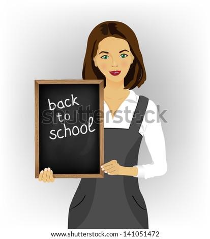 School teacher with blackboard - stock vector