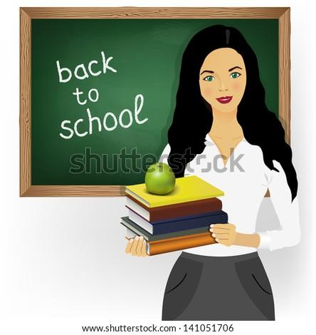 School teacher with books and apple on blackboard - stock vector